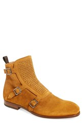 Men's Alexander Mcqueen 'Three Buckle' Studded Boot Tan Suede