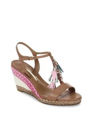 Sophia Webster Lucita Tassel Leather T Strap Espadrille Wedge Sandals Neapolitan