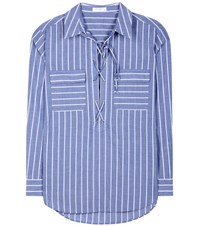 Equipment Knox Striped Cotton Shirt Blue