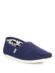 Toms Classics Cotton And Suede Slip Ons Navy