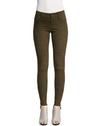 J Brand Jeans Suede Super Skinny Pants Camo Green