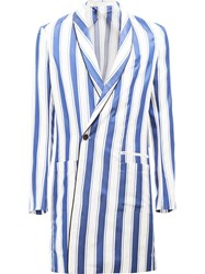 Haider Ackermann Striped Double Breasted Coat Blue