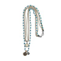 Platadepalo Silver And Bronze Necklace With Silver And Bronze Blue