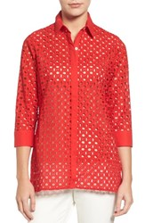 Foxcroft Women's Gigi Eyelet Cotton Tunic Ruby Red