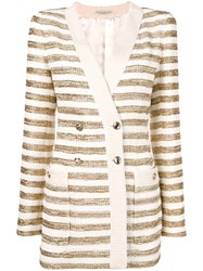 Alessandra Rich Striped Double Breasted Blazer Gold