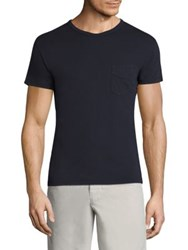 Officine Generale Regular Fit Solid Cotton Tee Navy