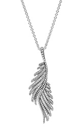 Pandora Design 'Majestic Feathers' Long Pendant Necklace Silver Clear