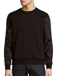 Saks Fifth Avenue Long Sleeve Cotton Blend Pullover Black