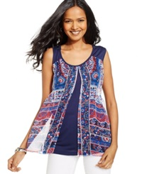 Style And Co. Printed Sheer Overlay Tank Top