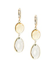 Saks Fifth Avenue 14K Yellow Gold Green Amethyst And Citrine Double Oval Drop Earrings
