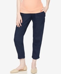 A Pea In The Pod Linen Blend Cropped Pants Navy