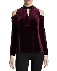 Neiman Marcus Cold Shoulder Velvet Top Black