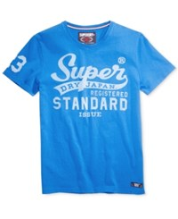 Superdry Men's Standard Issue Graphic Print Logo T Shirt Royal Blue