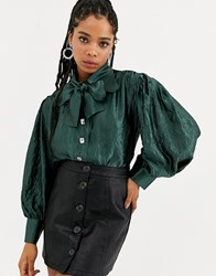 Sister Jane Dream Volume Blouse With Bow Collar In Metallic Crinkle Fabric Green