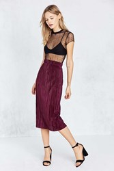 Cooperative Accordion Pleat Midi Skirt Maroon
