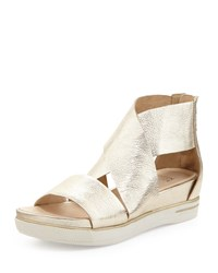 Sport Wide Strap Metallic Sandal Platinum Eileen Fisher White
