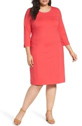 Sejour Plus Size Women's Ponte Knit Shift Dress Red Geranium
