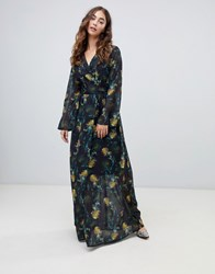 Lost Ink Wrap Front Maxi Dress In Blurred Floral Print Multi