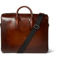 Berluti Polished Leather Briefcase Brown