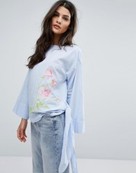 Warehouse Rose Embroidered Tie Side Top Blue