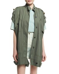 Roberto Cavalli Short Sleeve Button Front Utility Jacket Olive Green Women's
