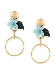 Lele Sadoughi Hibiscus Hoop Earrings Gold