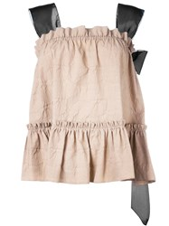 Rochas Organza Sleeveless Bow Blouse Nude And Neutrals