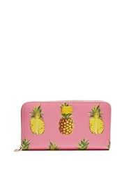 Dolce And Gabbana Pineapple Print Zip Around Leather Wallet Pink Multi