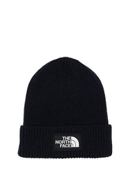 The North Face Logo Box Cuffed Acrylic Blend Beanie Navy