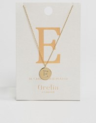 Orelia Gold Plated Necklace With Initial E Gold