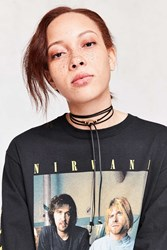 Urban Outfitters Circle Vegan Leather Wrap Choker Necklace Black
