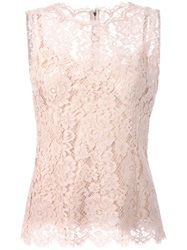 Dolce And Gabbana Floral Lace Tank Top Pink And Purple