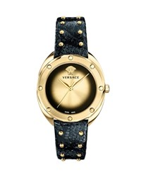 Versace 38Mm Shadov Leather Watch Black Champagne