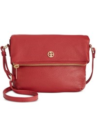 Giani Bernini Pebble Leather Zipper Mini Flap Crossbody Red