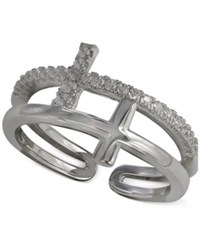 Giani Bernini Cubic Zirconia Double Cross Ring In Sterling Silver Only At Macy's