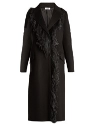 Jil Sander Bayern Feather Trimmed Cashmere Coat Black