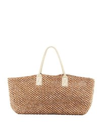 Flora Bella Manarola East West Straw Beach Tote Bag Neutral Pattern