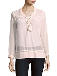 The Kooples V Neck Long Sleeve Lace Top Pink