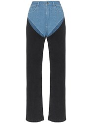 Y Project Two Tone Reconstructed Denim Jeans Blue