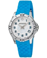 Wenger Women's Swiss Squadron Lady Blue Silicone Rubber Strap Watch 36Mm 0121.102