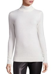 Saks Fifth Avenue Cashmere Turtleneck Sweater Cream Black