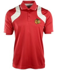 Antigua Men's Short Sleeve Chicago Blackhawks Fusion Polo Darkred White