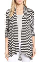 Bobeau Women's High Low Jersey Cardigan Black White
