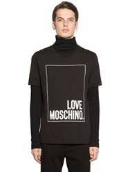 Love Moschino Logo Print Cotton Jersey T Shirt