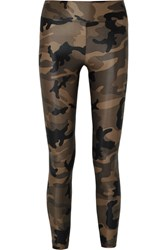 Koral Lustrous Camouflage Print Stretch Leggings Army Green