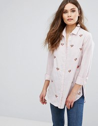 New Look Embroidered Stripe Shirt Pink Pattern