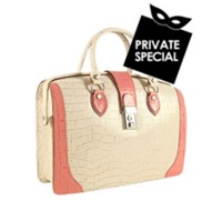 L.A.P.A. Ivory And Pink Croco Embossed Leather Doctor Bag