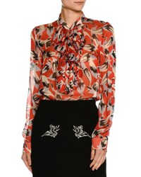 N 21 Ruffled Bib Long Sleeve Printed Chiffon Blouse Red