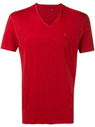 John Varvatos V Neck T Shirt Red