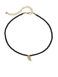 Cara Semi Precious Stone Tooth Pendant Beaded Necklace Black Gold